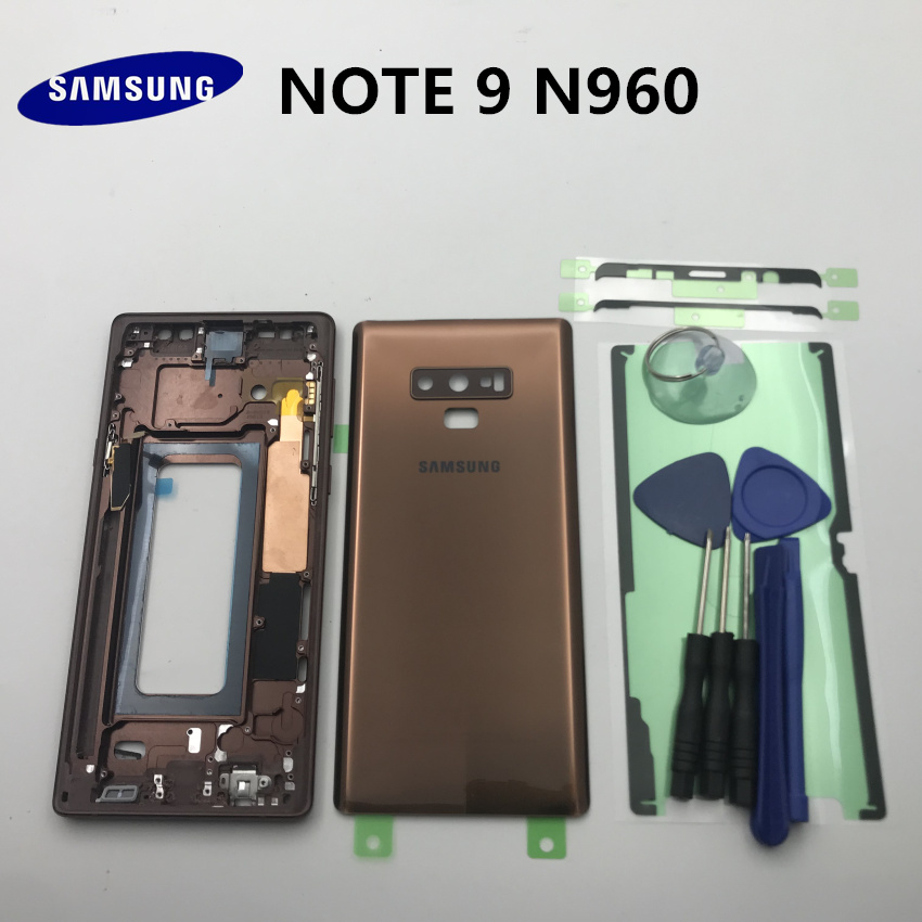 Original Full Housing Case Middle Frame+Rubber Seal Back Cover+SIM Card Replacement Parts For Samsung Galaxy NOTE 9 N960 N960F