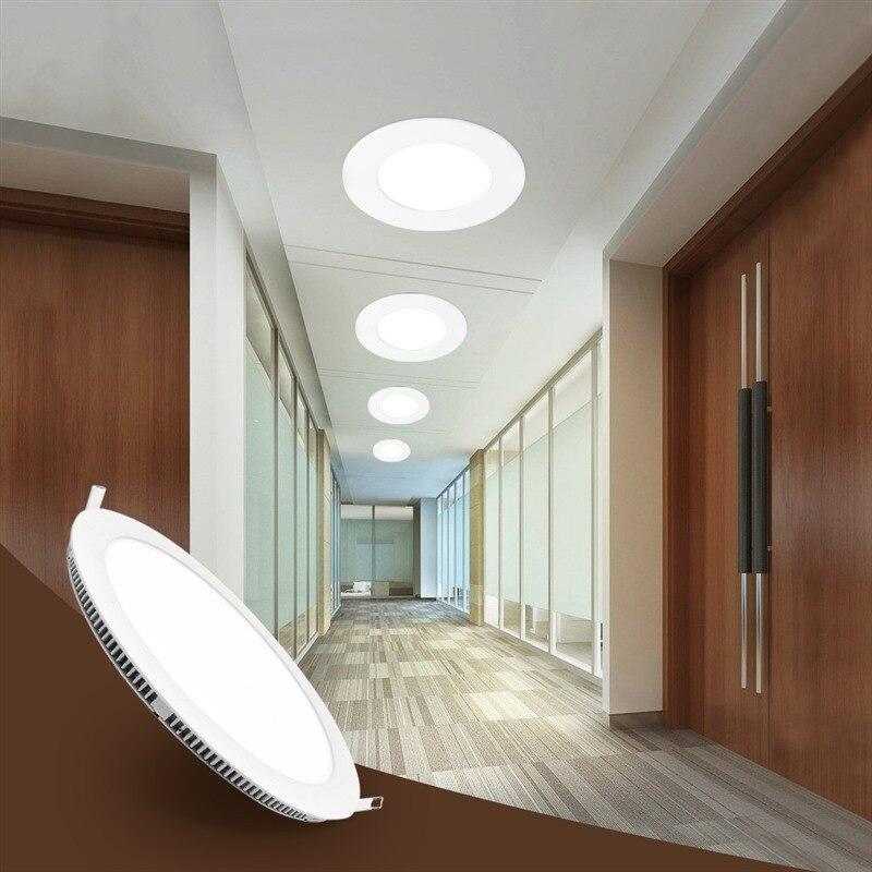 Round LED Panel Light Ceiling Lights Embedded Kitchen Ultra-thin Flat Panel Light Closets Lamps For Wardrobe Bathroom Lighting