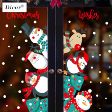 DICOR Cartoon Christmas Stickers for Window Showcase Removable Santa Clause Snowman Home Decor Adhesive PVC New Year Glass Decal