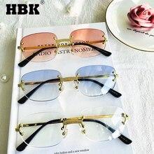 HBK occhiali da sole piccoli senza montatura donna specchio senza montatura oro rosso chiaro occhiali da sole montatura in lega classico Designer di marca tonalità marroni