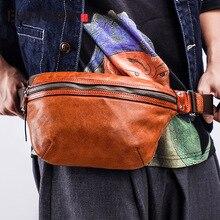 EUMOAN Men's leather small waist packs retro casual soft leather chest bag oblique cross multifunctional shoulder bag