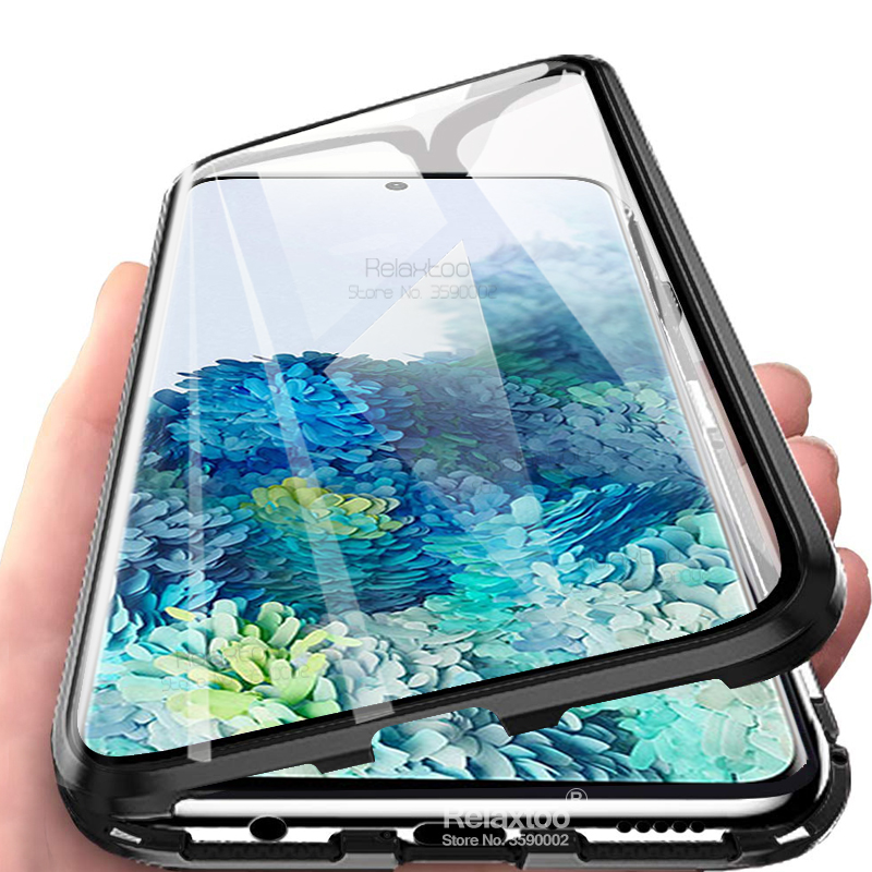 S20 Ultra Case Magnetic Flip Cover On For Samsung Galaxy S20 Plus Case Double-sided Glass 360° Metal Adsorbable Protective Coque