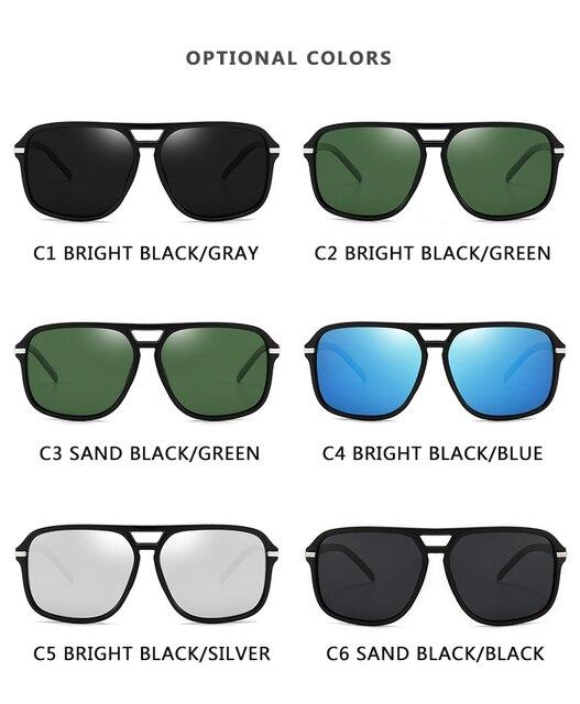 Gafas de Sol polarizadas y cuadradas para hombre, lentes de sol masculinas a la moda, estilo cuadrado con gradiente, adecuadas para conducir, diseño vintage de marca, 2020 6