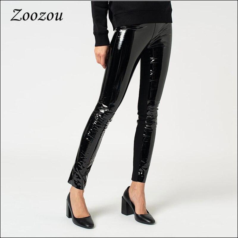 Pantalones de charol de látex ajustados para mujer, pantalón Sexy de piel sintética suave, cálido, informal, personalizado, para Otoño e Invierno