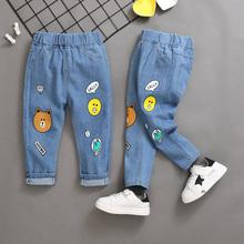 2020 nowe ubrania dla dzieci dżinsy dla dziecka kreskówki modne dżinsy dziewczyny spodnie kreskówki dżinsy z otworami chłopców ubrania dla 2-10 lat tanie tanio KEAIYOUHUO Na co dzień Pasuje prawda na wymiar weź swój normalny rozmiar All-Pants-1007 Elastyczny pas Unisex Cartoon
