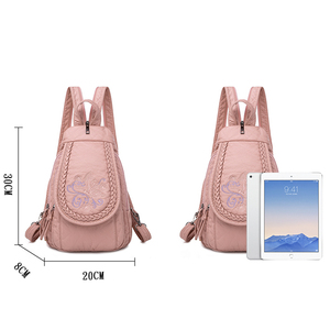 Image 4 - Butterfly Embroidery Sheepskin Women Backpack 3 in 1 Soft Genuine Leather Chest Bag For Mother Ladies  Large Capacity Bagpack