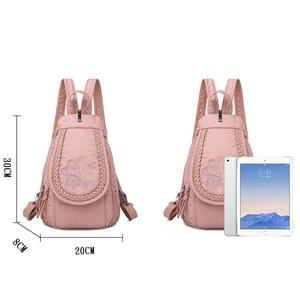 Image 4 - Schmetterling Stickerei Schaffell Frauen Rucksack 3 in 1 Weiche Echtes Leder Brust Tasche Für Mutter Damen Große Kapazität Bagpack