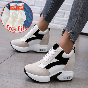 Women Platform Vulcanized Shoes Ladies Lace Up Casual Light Suede Shoes Woman Fashion Sneakers Female Ankle Heel Footwear 2020