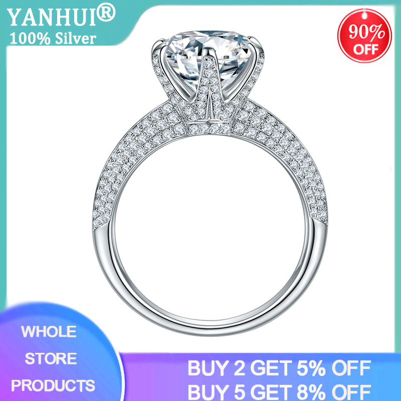 YANHUI With Certificate Classic 2ct Big Lab Moissanite Gemstone Wedding Rings For Women S925 Silver Jewelry Brand Bridal Ring