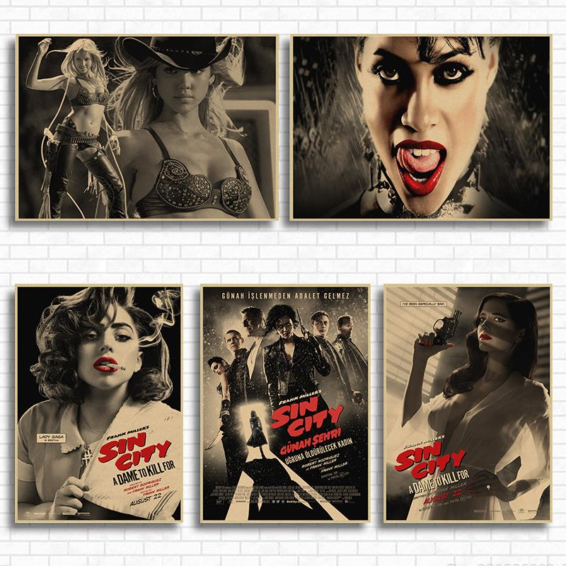 Sin City Movie Kraft Paper Poster Painting Brown paper drawing core hanging Picture home art decoration posters