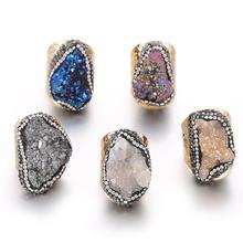 Nieregularny kamień naturalny regulowany pierścień dla kobiet Boho biżuteria na palce 1 sztuk tanie tanio LIANGE CN (pochodzenie) Miedziane Kobiety BOHEMIA Obrączki ślubne Nieregularne LG-R23 moda Na imprezę Pierścionki Each product is different