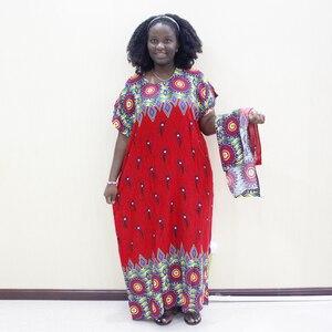Image 4 - Dashikiage الطاووس ريشة طباعة فستان الأفريقية Dashiki حجم كبير قصيرة الأكمام فساتين زرقاء غير رسمية مع Sarf