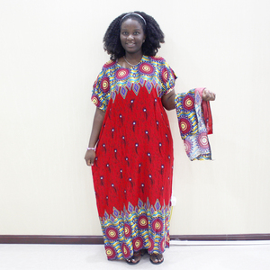 Image 4 - Dashikiage Peacock Feather Print Dress African Dashiki Plus Size Short Sleeve Casual Blue Dresses With Sarf