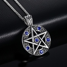 feecolor 1pcs Vintage Silver Wicca Pagan Pentagram Star Pentacle Witch Pendant Necklace