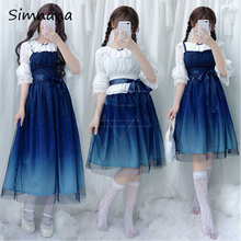 Shinning Stars Lolita Dress Gradient JSK Sweet Han Tang Blue Girls Fancy Lace Ruched Pleated With Shirt Set