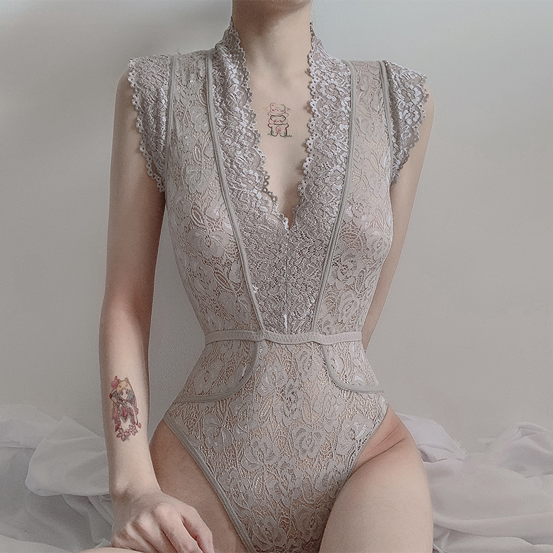 Sexy Lace Bodysuits Women Summer Sleeveless Mesh Bodysuit Lace Up Hollow Out Sleepwear Body Lingerie Tops Party Clothing