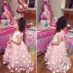 Pink Tulle Flower Girls Dresses Ball Gowns Pink Girl First Communion Birthday Dresses Baby Girls Birthday Pink Dresses Custom