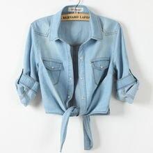 Женская джинсовая рубашка блузка осень 2020 Лидер продаж топы