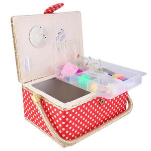 Handmade Sewing Basket Household Fabric Craft Thread Needle Storage Box Organizer Flip Type for Sewing Accessories