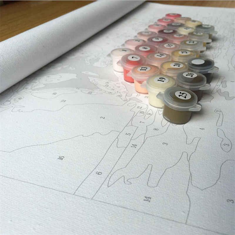 بدون إطار جدار الفن DIY بها بنفسك النفط الطلاء بواسطة أرقام رسمت باليد قماش الفن الفيلم المشارك 40*50 سنتيمتر-مارلين مونرو G002