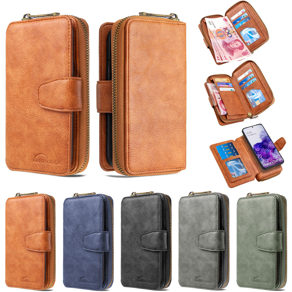 Retro Wallet Case For Redmi Note 9S 9 Pro Max 8T 8 7 8A 7A Zipper Purse Card Slot Leather Holder Case For Xiaomi Mi Note 10 9T