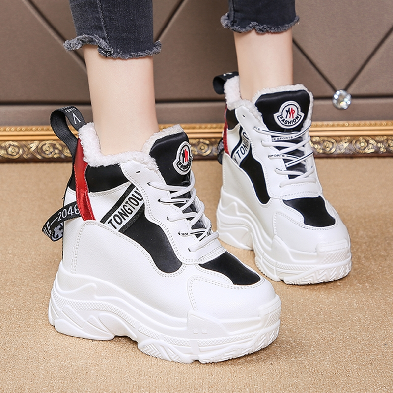 Women Chunky Sneakers Hidden Heels 11CM Height Increasing Ladies Wedge Shoes High Top Winter Plush Warm Platform Women Shoes