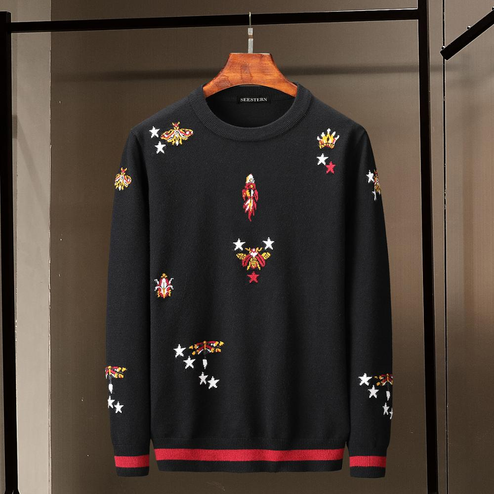 Seestern Brand New Men's Sweater Jacquard Star Bee Crown Dragonfly Rocket Pattern Fashion Autumn Winter Thick High-quality Warm
