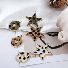 2 pcs 2019 new design fashion alloy side leopard plush star round oval earrings for women autumn and winter models diy jewelry