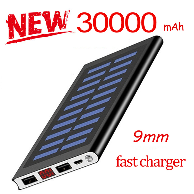 30000mAh Power Bank Solar Ultra High Capacity External Ultra Thin 9mm Charger for Mobile Phone for Outdoors/camping/explore 1