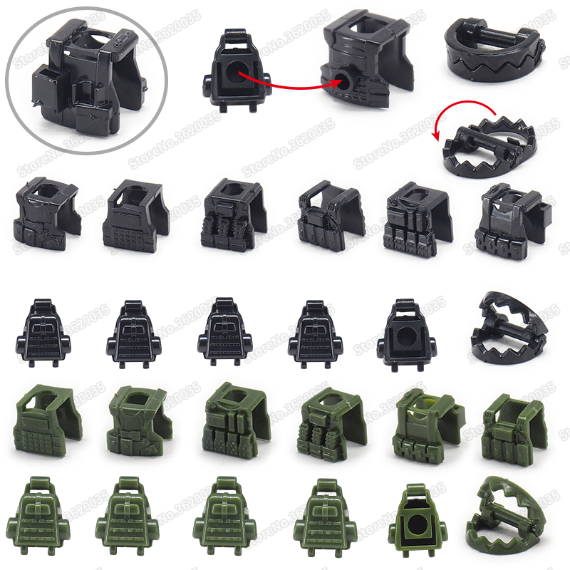 Legoinglys Figures Military Backpack Building Block Set Diy WW2 Army Special Equipment Weapons Pubg Moc Child Christmas Gift Toy