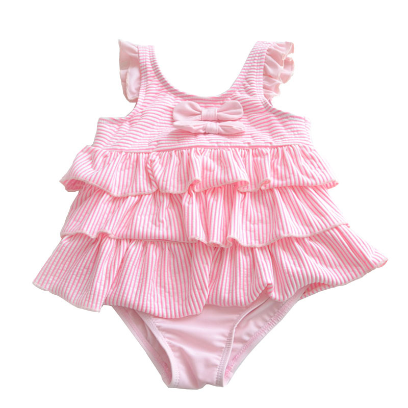 [Micro For On Behalf Of 2017 New Style Powder Baby Infants Cute Pink Double Bow Cake One-piece
