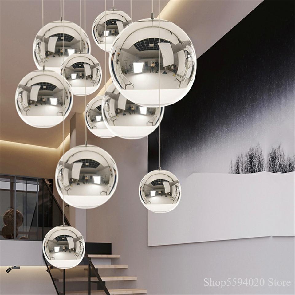 Silver Glass Ball Lustre Pendant Lights LOFT Modern LED Pendant Lamp Lighting Bar Industrial Lighting Hanging Light Fixture E27