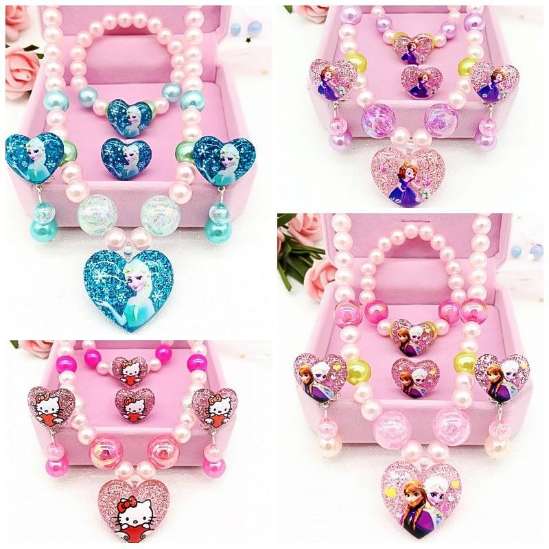 Frozen 2 Elsa Princess Children Lovely Necklace Bracelet Earring Ring 4pcs Cosplay Fashion Set Birthday Gift Kids Toys For Girls