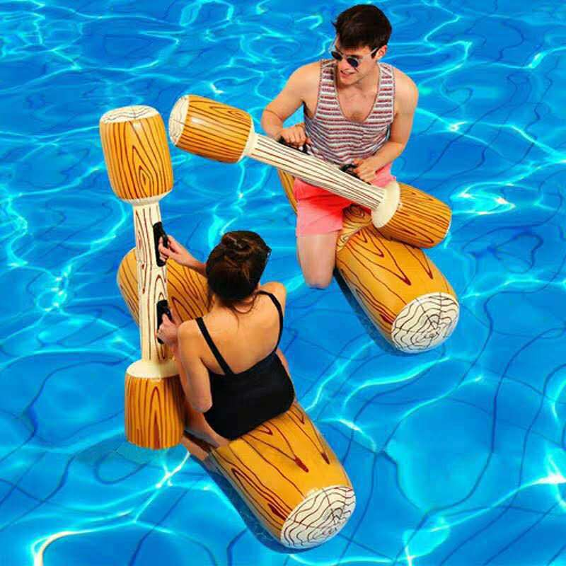 Water Tandem Entertainment Game Inflatable Cheering Bar Swimming Tube Sit Stick Hand-Click Rod