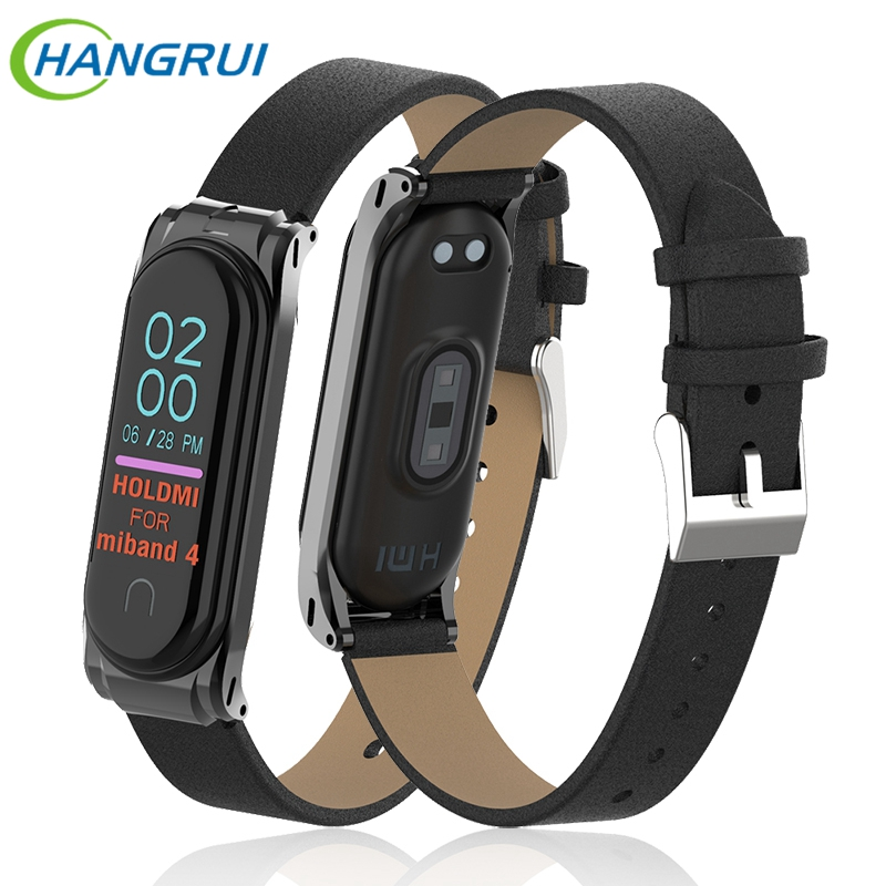 Hangrui For Xiaomi Mi Band 4 Strap Leather Wrist Strap For Mi Band4 NFC Smart Bracelet Replacement Wristbands For Xiaomi Band 4