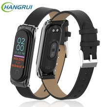 Hangrui For Xiaomi Mi Band 4 strap leather wrist Band4 NFC smart bracelet Replacement wristbands band