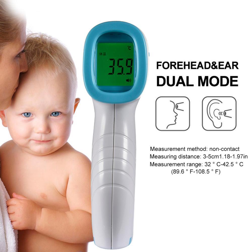 Thermomètre frontal sans contact IR infrarouge numérique LCD Laser pyromètre Surface du corps tête et oreille Termometro température mètre