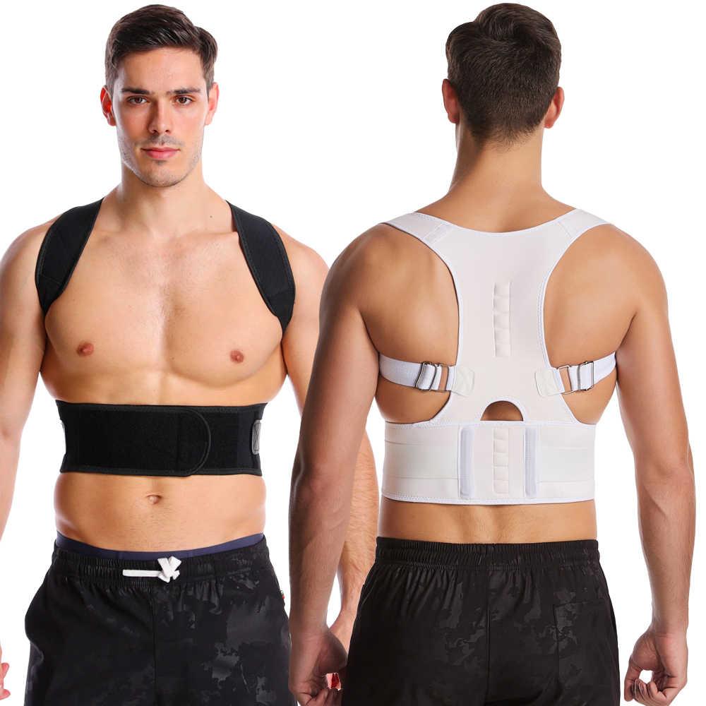 Corrector de postura magnética ajustable para mujer, corsé, cinturón trasero, soporte Lumbar, Corrector recto de espalda S-4XL