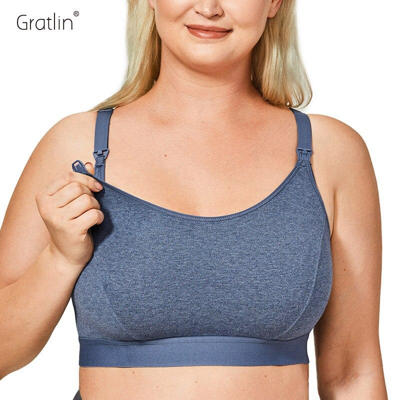 Gratlin женский бюстгальтер с полной чашкой для беременных, комфортное хлопковое нижнее белье для грудного вскармливания размера плюс