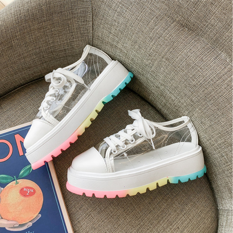 Women Fashion Transparent Dad Jelly Shoes Brand Girl Candy Color Bottom Thick Heel Sneakers Designer Breathable Running Sneakers