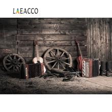 Laeacco Old Dark Wooden Wheel Guiter Instrument Baby Warehouse Interior Photo Backgrounds Photography Backdrops For Studio