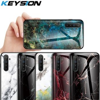 Перейти на Алиэкспресс и купить Чехол из закаленного стекла KEYSION для OPPO Realme XT X2 X, ударопрочный чехол из мраморного стекла для телефона Realme 5 5 Pro 3 Pro 2 1 C2 Q