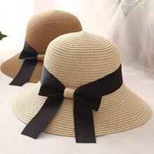 WOMEN'S Hat Bucket-Hat Holiday Beach Summer Ribbon Sun-Protection Sun-Hat-Outdoor Straw