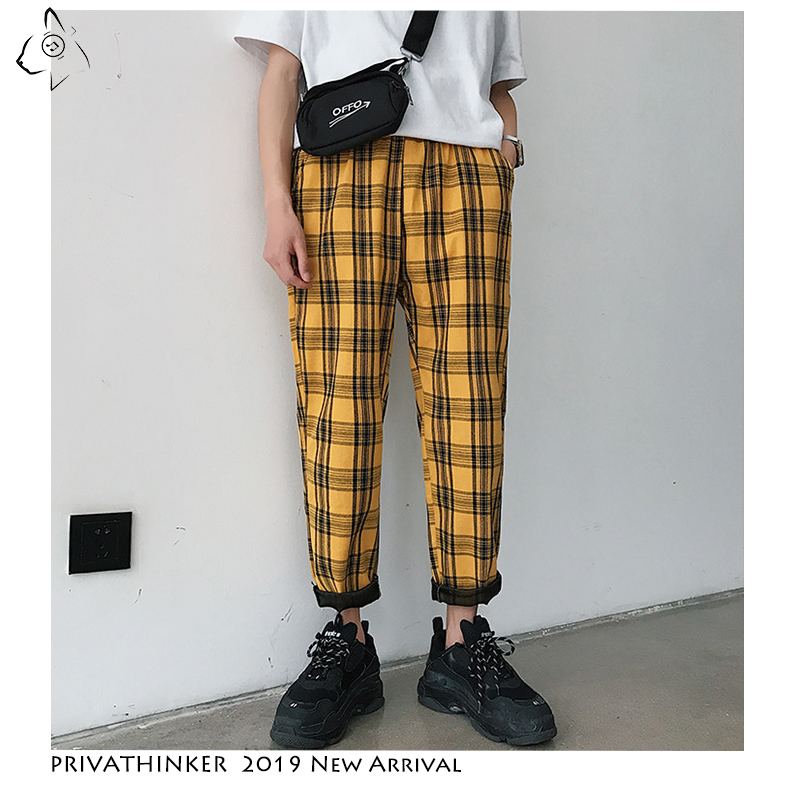 Privathinker Yellow Black Plaid Slim Fit Men's Pants 2019 Korean Men Casual Harem Pants Hip Hop Joggers Unisex Streetwear Pants