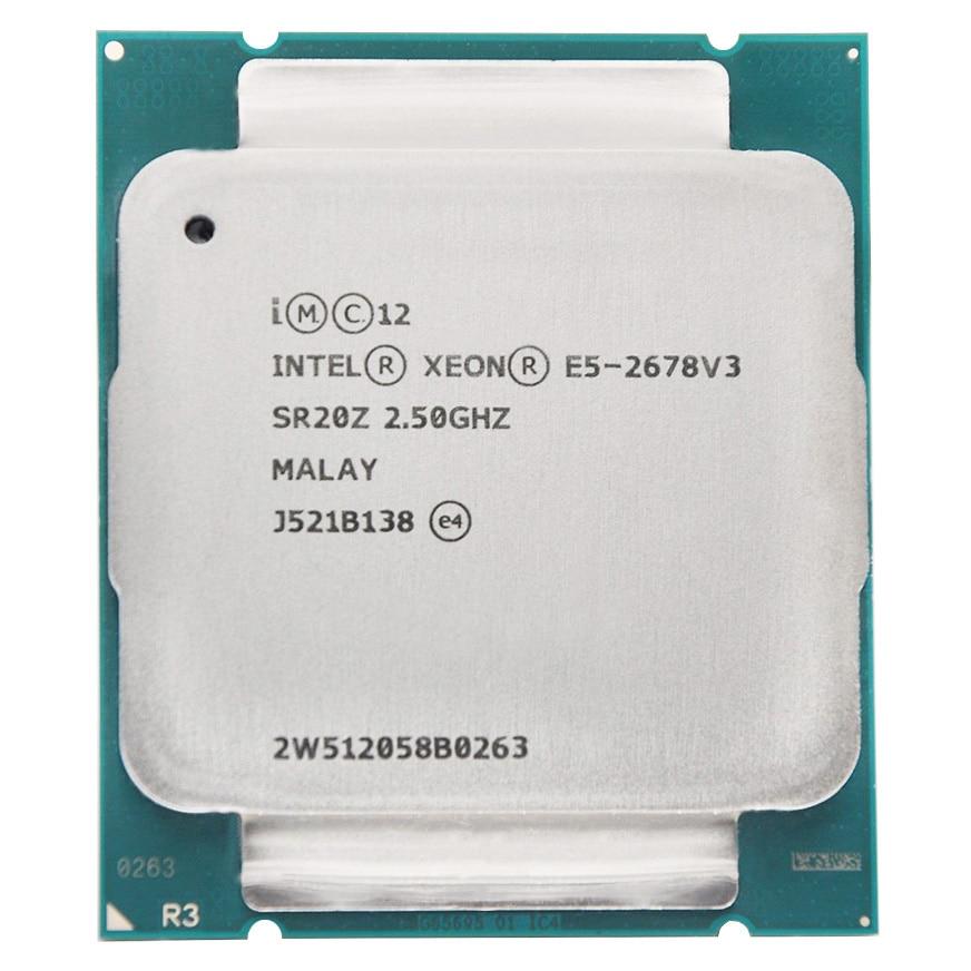 Intel Xeon Processor E5 2678 V3  E5-2678 V3 2678V3 CPU 2.5G Serve CPU LGA 2011-3 PC Desktop Processor CPU For X99 Motherboard