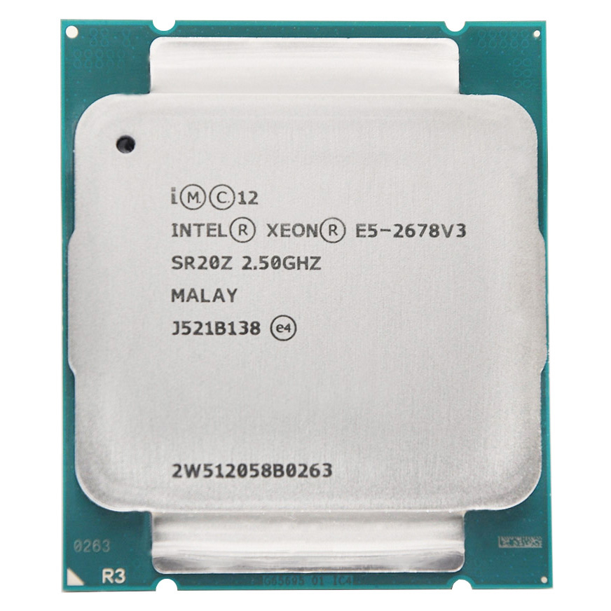 Intel Xeon <font><b>Processor</b></font> E5 2678 V3 e5-2678 V3 2678V3 CPU 2.5G Serve CPU LGA 2011-3 PC Desktop <font><b>processor</b></font> CPU For X99 motherboard image