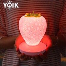 LED Strawberry Night Light Touch USB Charging Bedroom Bedside Light Decoration Atmosphere Table Lamp for Kids Home Desktop Light
