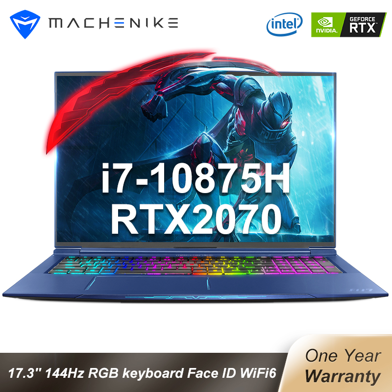 Machenike F117-FPA laptops RTX2070 Gaming laptop 2020 i7 10875H 32G 512G 2T 17 3   144Hz Mechanical keyboard Face ID WiFi6