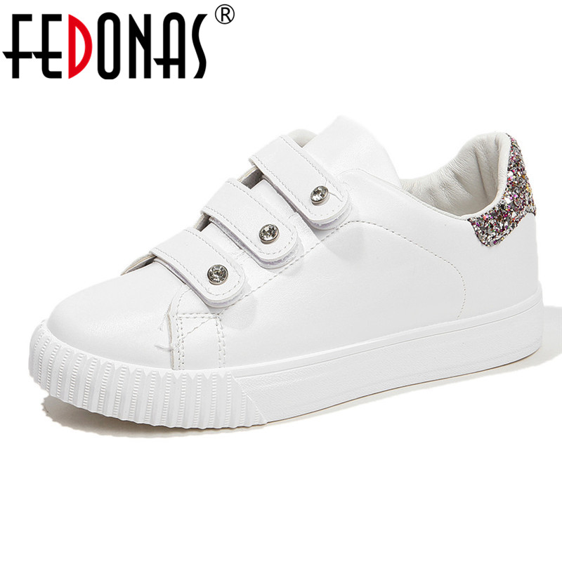 FEDONAS Blingbling Women Flats Spring Summer Casual Office Shoes Woman Round Toe Shallow Sneakers Hook Female Platforms Shoes