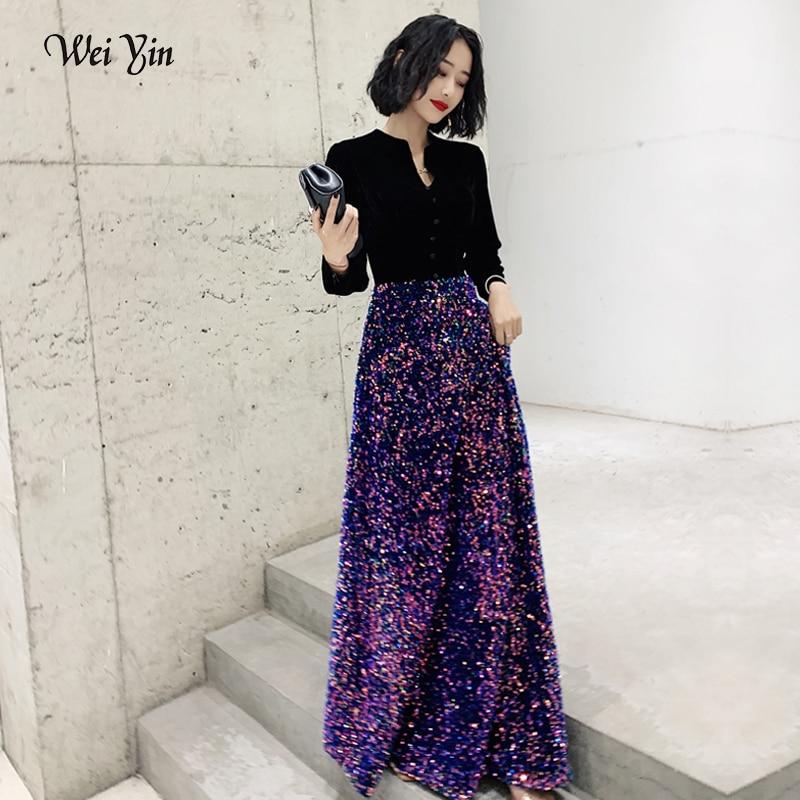 wei yin AE0201 Saudi Arabic Long Sleeve   Evening     Dress   Muslim 2019 V Neck Sequin Gown Dubai Women   Dresses     Evening   Party   Dress